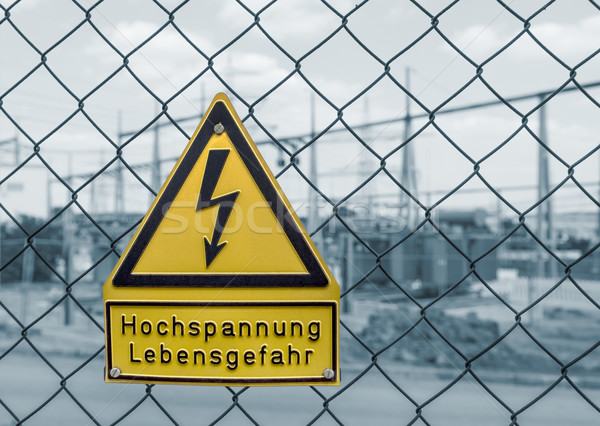 high voltage warning sign Stock photo © prill