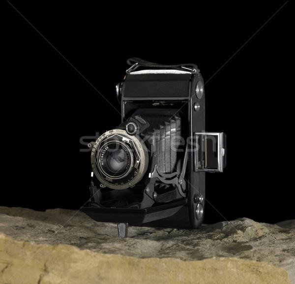 Stock fotó: Nosztalgikus · kamera · kő · felület · csendélet · föld