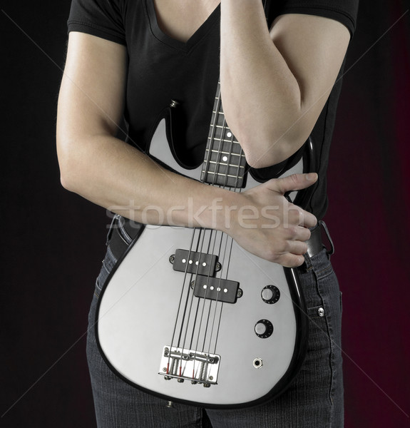 Kadın bas gitar detay siyah Stok fotoğraf © prill