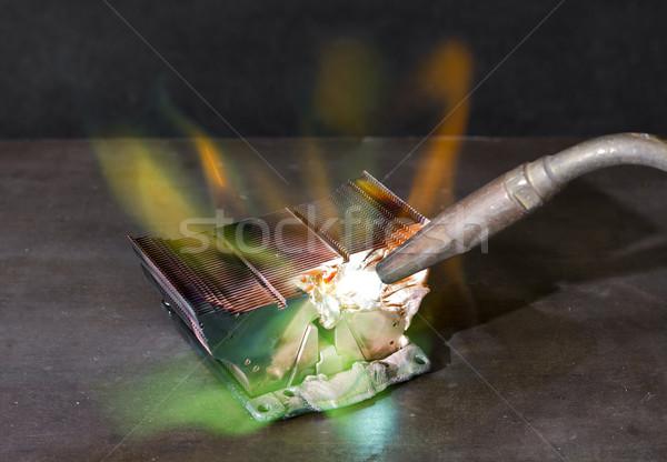 Hő mosdókagyló rombolás olvad hegesztés zseblámpa Stock fotó © prill
