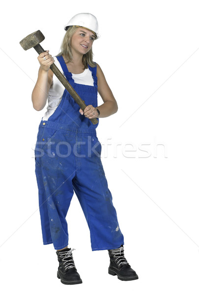 girl dressed in workwear holding a big hammer Stock photo © prill