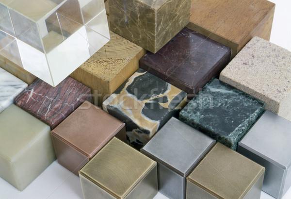 Cubes différent matériaux verre acier Photo stock © prill