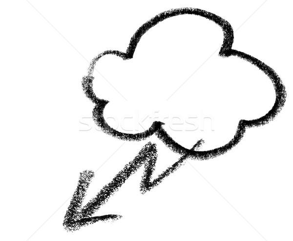 Stock fotó: Viharos · felhő · ikon · illusztráció · felhő · villám · villanás