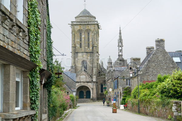 Vista de la calle idílico medieval pueblo casa calle Foto stock © prill