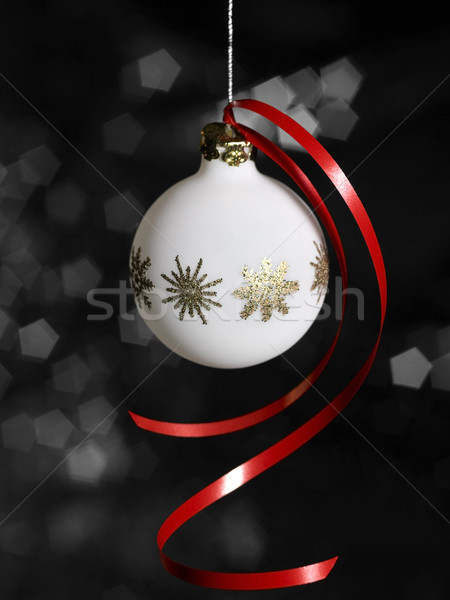 white Christmas bauble in dark back Stock photo © prill