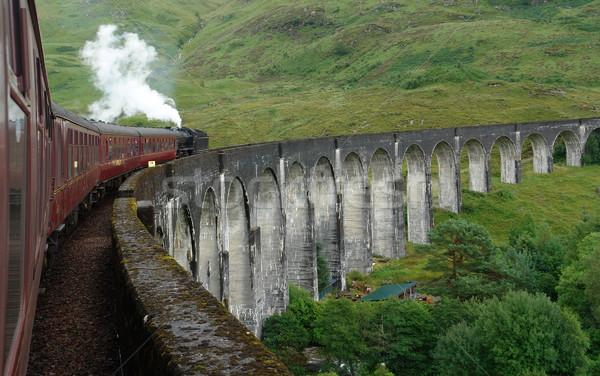 Photo stock: Vapeur · train · Écosse · paysages · herbe · construction