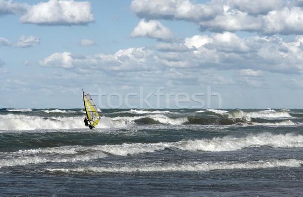 windsurfer in wavy sea Stock photo © prill