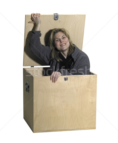 girl sitting in a wooden box Stock photo © prill