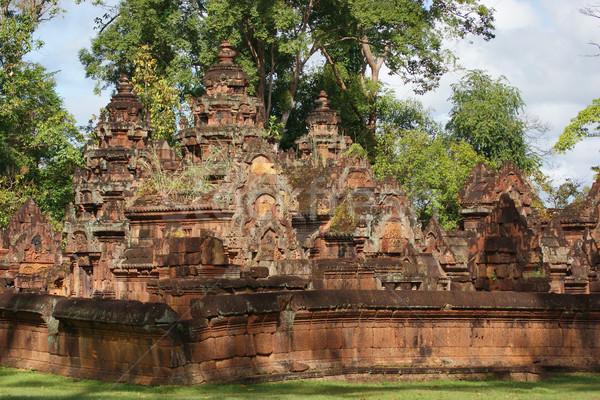 Landschap historisch tempel Cambodja bouw muur Stockfoto © prill