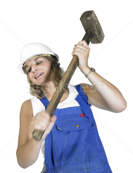 cute girl while hammering Stock photo © prill
