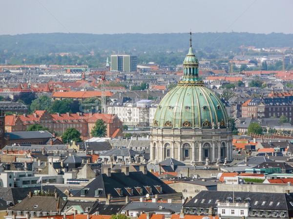 Koppenhága Dánia légifelvétel város templom utazás Stock fotó © prill