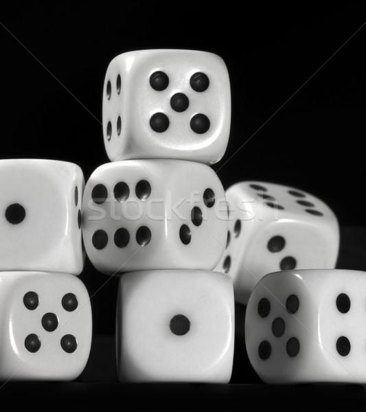 white dice in black back Stock photo © prill