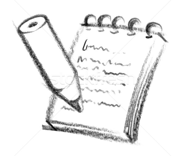 Icon illustratie potlood notepad verf Stockfoto © prill