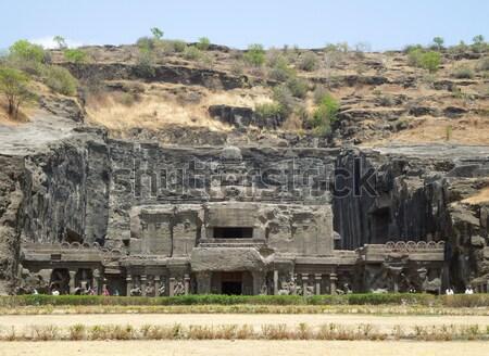 Tempel ruïneren archeologische plaats Mexicaanse boom Stockfoto © prill