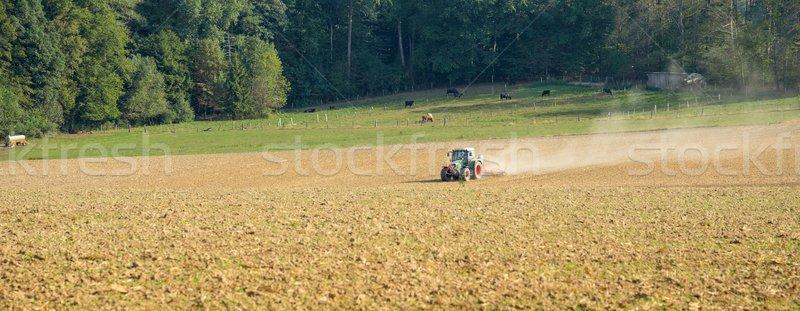 Alan traktör tarım manzara güneşli orman Stok fotoğraf © prill