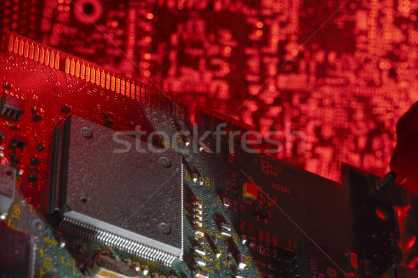 Bilgisayar bellek kırmızı dijital kart Stok fotoğraf © prill