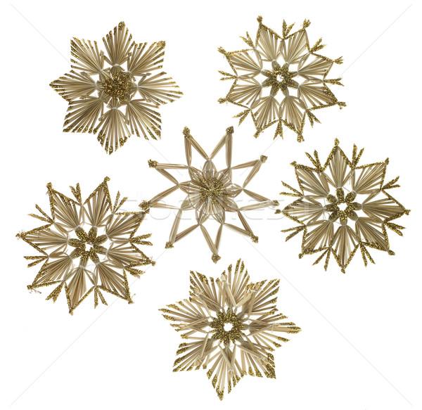 Stock photo: decorative christmas straw stars
