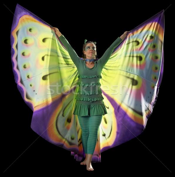 танцы бабочка женщину красочный костюм Сток-фото © prill