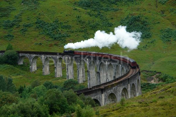 Skócia gőz vonat vezetés zöld fű Stock fotó © prill