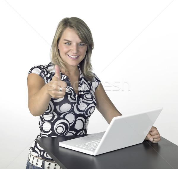 cute computing girl signals allright Stock photo © prill