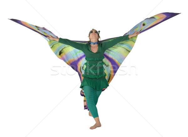 Dansen vlinder vrouw jonge vrouw kleurrijk kostuum Stockfoto © prill