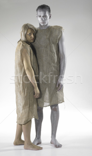 poor couple lean against each other Stock photo © prill