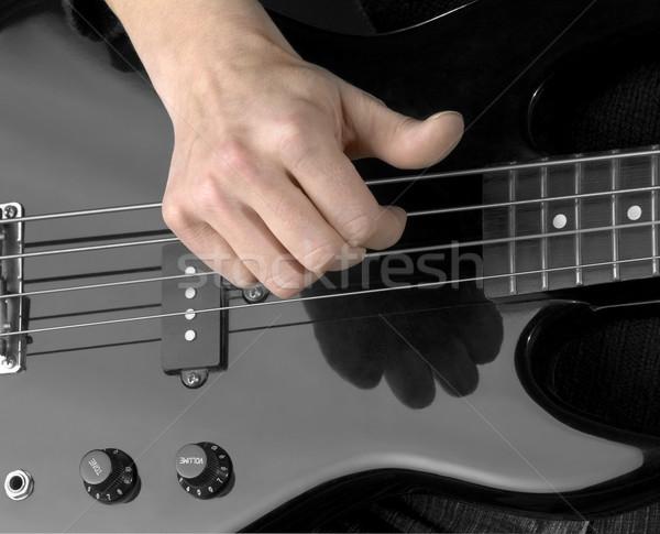 стороны электрических бас подробность черный гитаре Сток-фото © prill