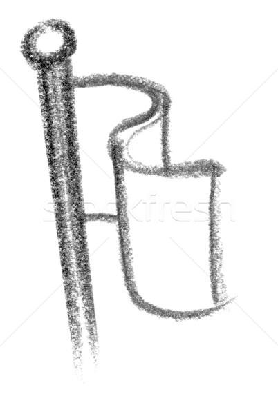Zászló ikon illusztráció hullámos festék felirat Stock fotó © prill