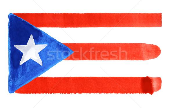 Puerto Rico vlag illustratie aquarel achtergrond kunst Stockfoto © prill