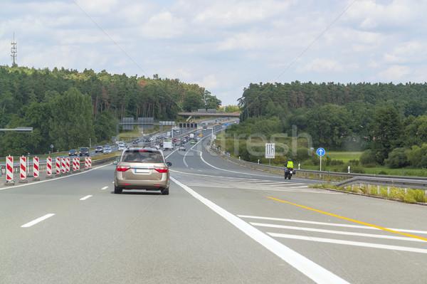Autópálya útépítés díszlet autópálya napos nyár Stock fotó © prill