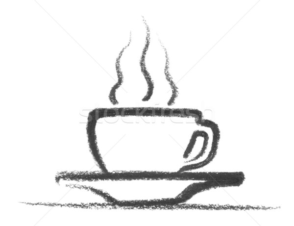 Sıcak Fincan Kahve Dizayn Boyama Siyah Stok Fotoğraf
