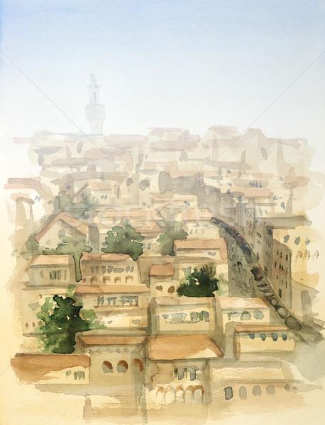 Tuscany watercolor painting Stock photo © prill