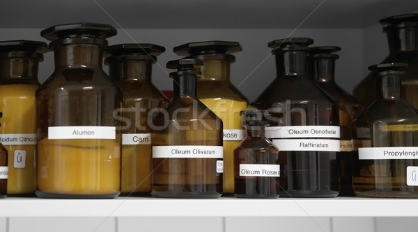 Vegyszerek üveg üvegek orvosi konyhaszekrény tudomány Stock fotó © prill