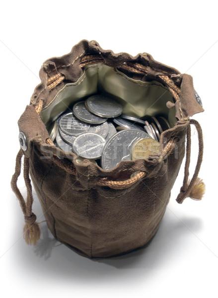 Bőr pénzeszsák stúdió fotózás nyitva érmék Stock fotó © prill