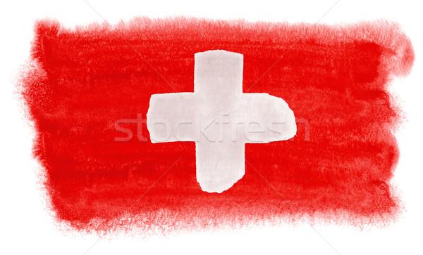 Suíça bandeira ilustração aquarela fundo arte Foto stock © prill