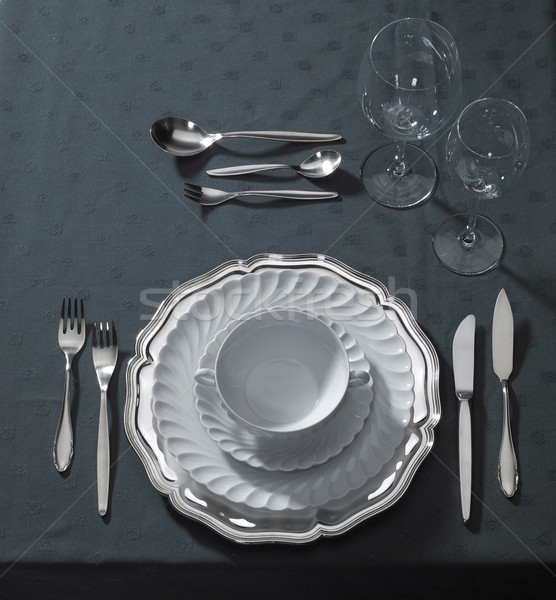 noble place setting on dark tablecloth Stock photo © prill