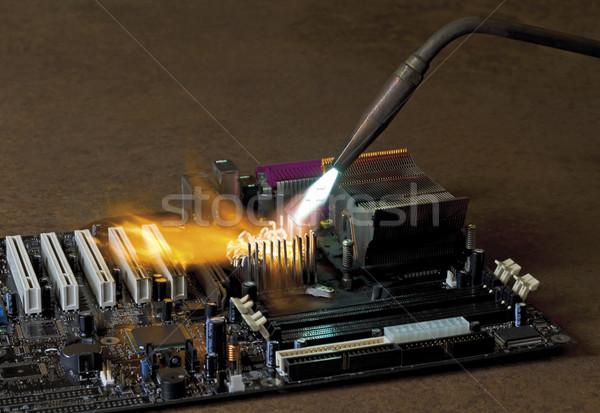 Fő- tábla rombolás láng hegesztés égő Stock fotó © prill