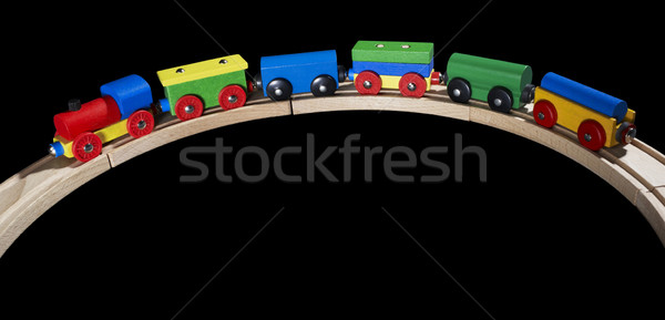 wooden toy train on tracks Stock photo © prill
