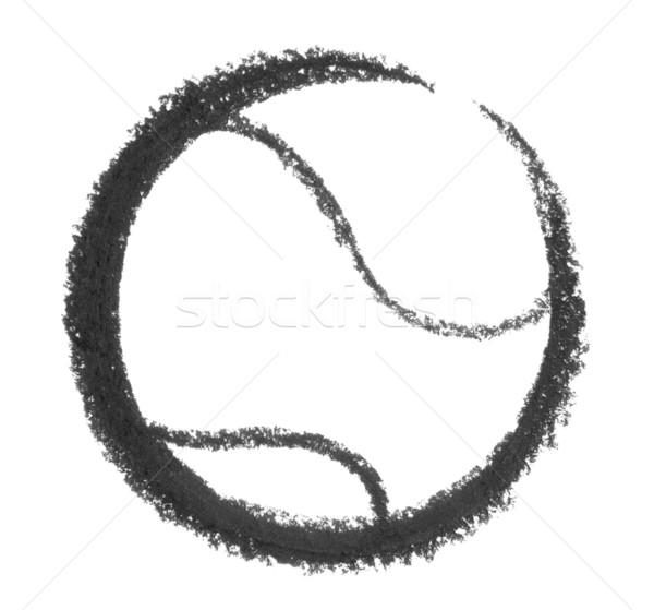 теннисный мяч белый назад знак связи икона Сток-фото © prill