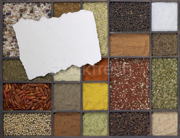 Unterschiedlich Gewürze unterschiedlich dunkel Holz Feld Stock foto © prill