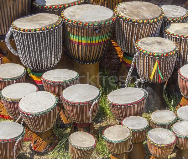 африканских барабаны Солнечный музыку Африка рынке Сток-фото © prill