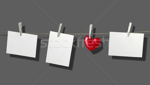 Waslijn witte vast kleding grijs Stockfoto © prill