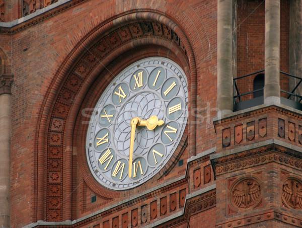 óra piros városháza részlet Berlin Németország Stock fotó © prill