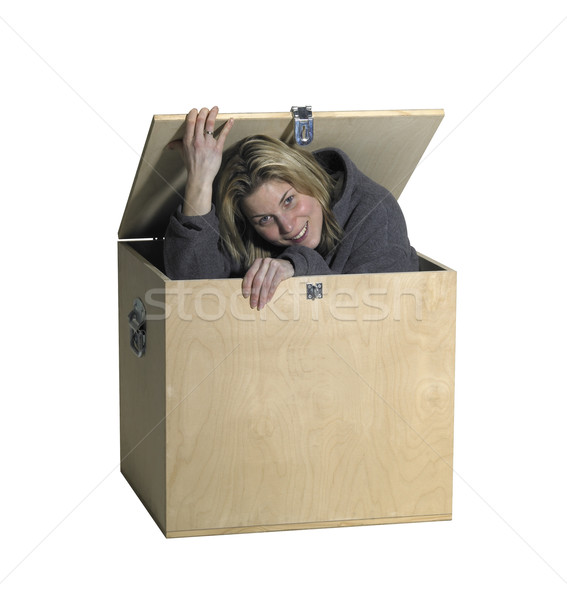 girl sitting inside  a wooden box Stock photo © prill