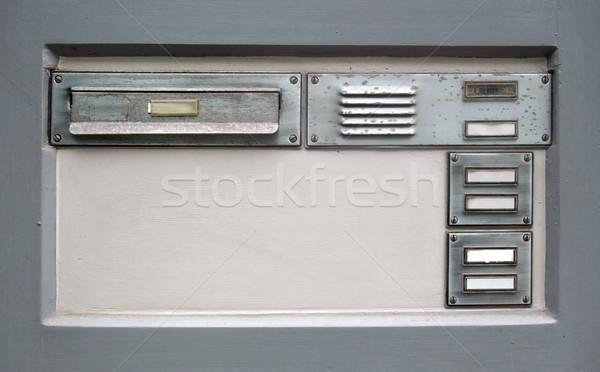 Sonnette plaque métal boîte aux lettres réflexion personne Photo stock © prill