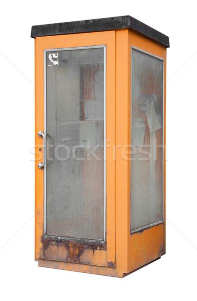 телефон окна оранжевый изолированный белый телефон Сток-фото © prill