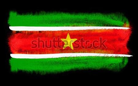 Суринам флаг иллюстрация акварель фон искусства Сток-фото © prill