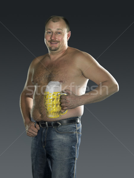 man with naked beer belly Stock photo © prill
