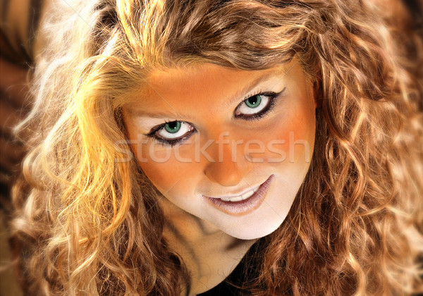 Tiger Mädchen Porträt cute Teenager Tier Stock foto © prill