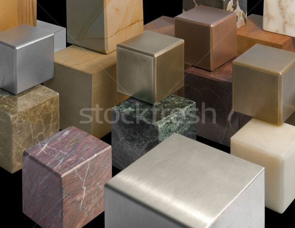 Cubes différent matériaux noir Retour Photo stock © prill